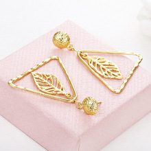 Europe and America cross border new product Bohemia individuality geometry gold openwork triangle leaf earrings earrings a suit of gorgeous leaf rhinestone openwork necklace bracelet ring and earrings for women