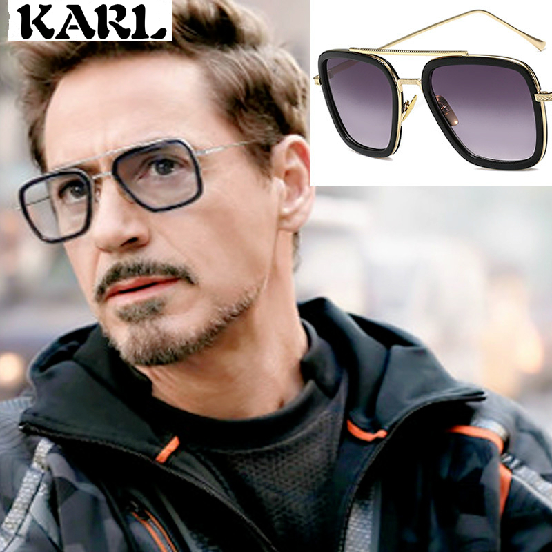 Tony Stark Men Vintage Sunglasses UV400 Iron Man Square  Brand Designer Gafas De Sol