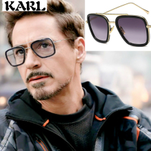 Tony Stark Men Vintage Sunglasses UV400 Iron Man Square  Brand Designer Gafas De Sol
