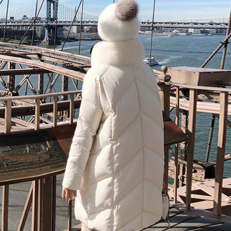 Image 3 - FTLZZ Large Real Natural Fox Fur Collar White Duck Down Coat  Winter Jacket Women Down Long Parkas Female Thick Snow OuterwearDown  Coats