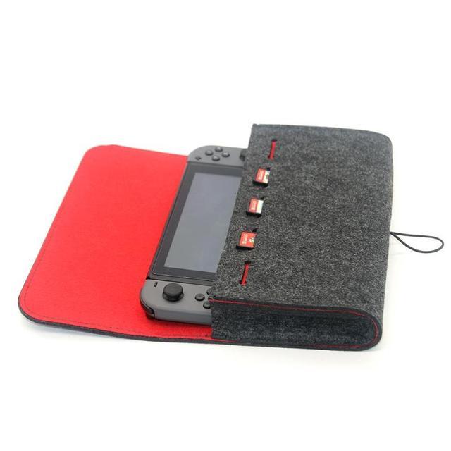 스위치 케이스 게임 액세서리에 대 한 펠트 휴대용 스토리지 가방 NS 닌텐도 스위치 콘솔 게임 가방에 대 한 운반 케이스 메모리 카드 홀더
