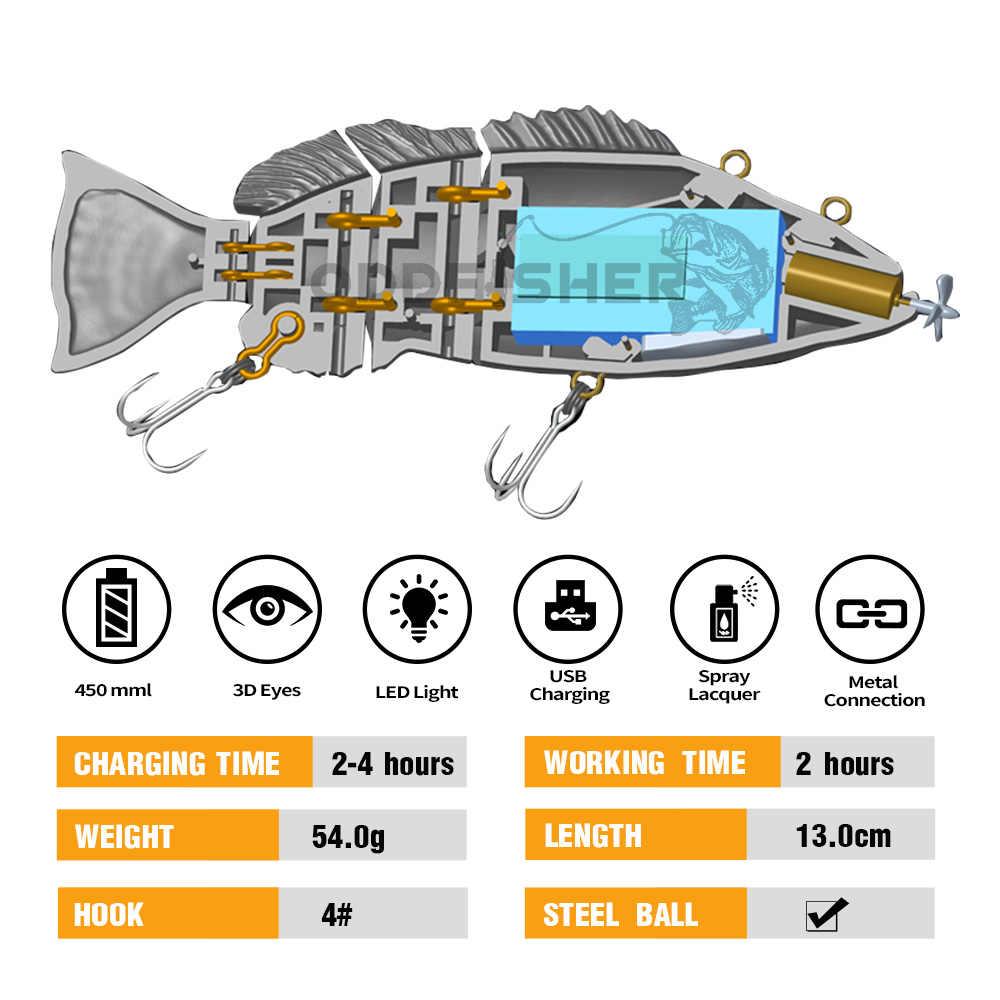 Robotic Multi Jointed Köder Elektrische Locken Bass Wobbler Led Licht Für 4 Segement Angeln Swimbait Künstliche Harten Wiederaufladbare