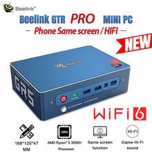 Новый мини-ПК Beelink GTR PRO на базе Windows 10, Hi-Fi-телефона, одного экрана, компьютера, WIFI6, игровой, сканер отпечатков пальцев, AMD Ryzen 5, 3550H, ТВ-приставка ...