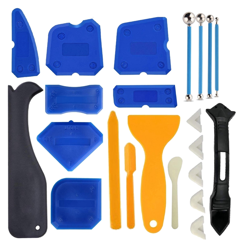 HOT-21 Pcs Caulking Tool Kit Caulk Caps Sealant Finishing Tool Silicone Caulk Removal Tool For Bathroom Kitchen And The Rest Of