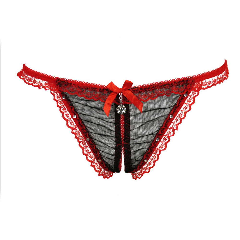 Women's Sexy Perspective Diamond Lace Panties G-Strings Erotic Crotchless Underwear for Sex Lingerie Low Rise Thong