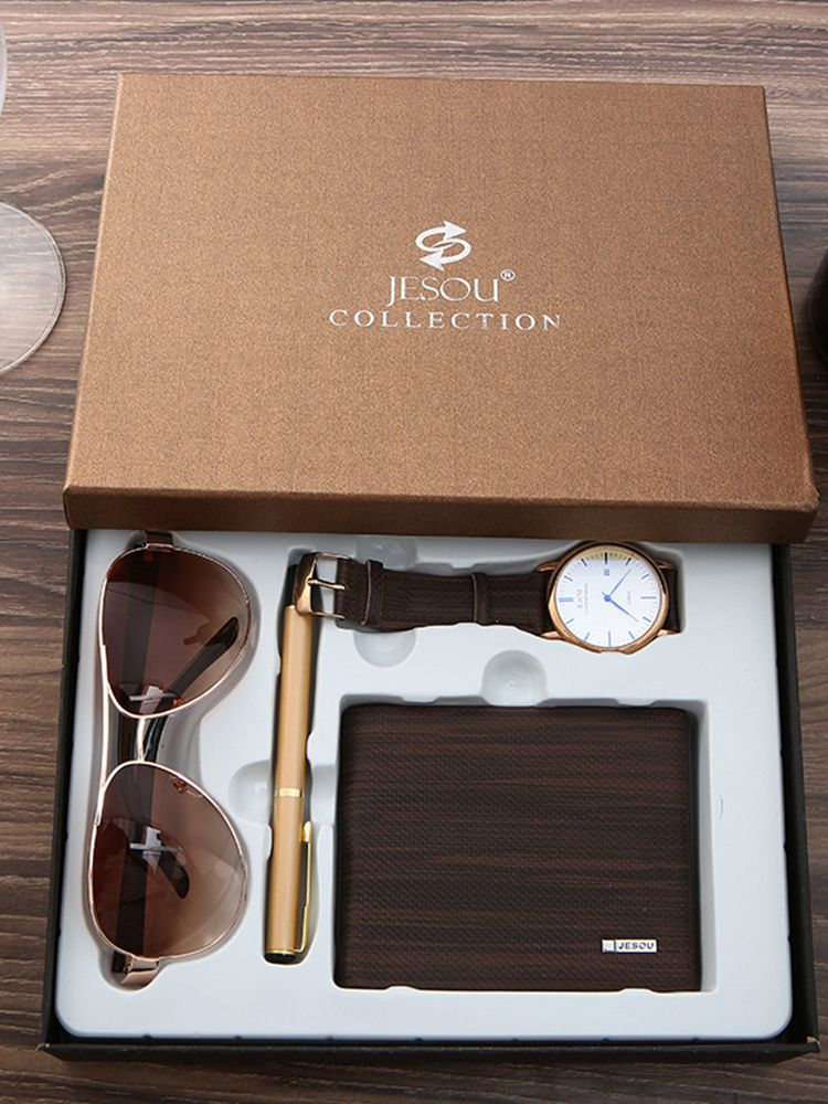 Мужские часы с кожаным ремешком, кварцевые наручные часы с солнцезащитными очками, кожаный бумажник, высокое качество, подарочный набор