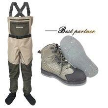 Vêtements et chaussures de pêche à la mouche Aqua baskets Wading ensemble de vêtements respirant Rock 12 clous feutre semelle bottes Wader pantalon FXMD1