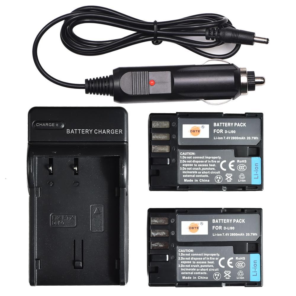 DSTE, 2 шт., аккумулятор для фотоаппарата с вилкой Стандарта США, комплект для зарядного устройства для фотоаппарата Pentax, D-LI90 K-7, 645D, K5IIS, K5II, K01, K3