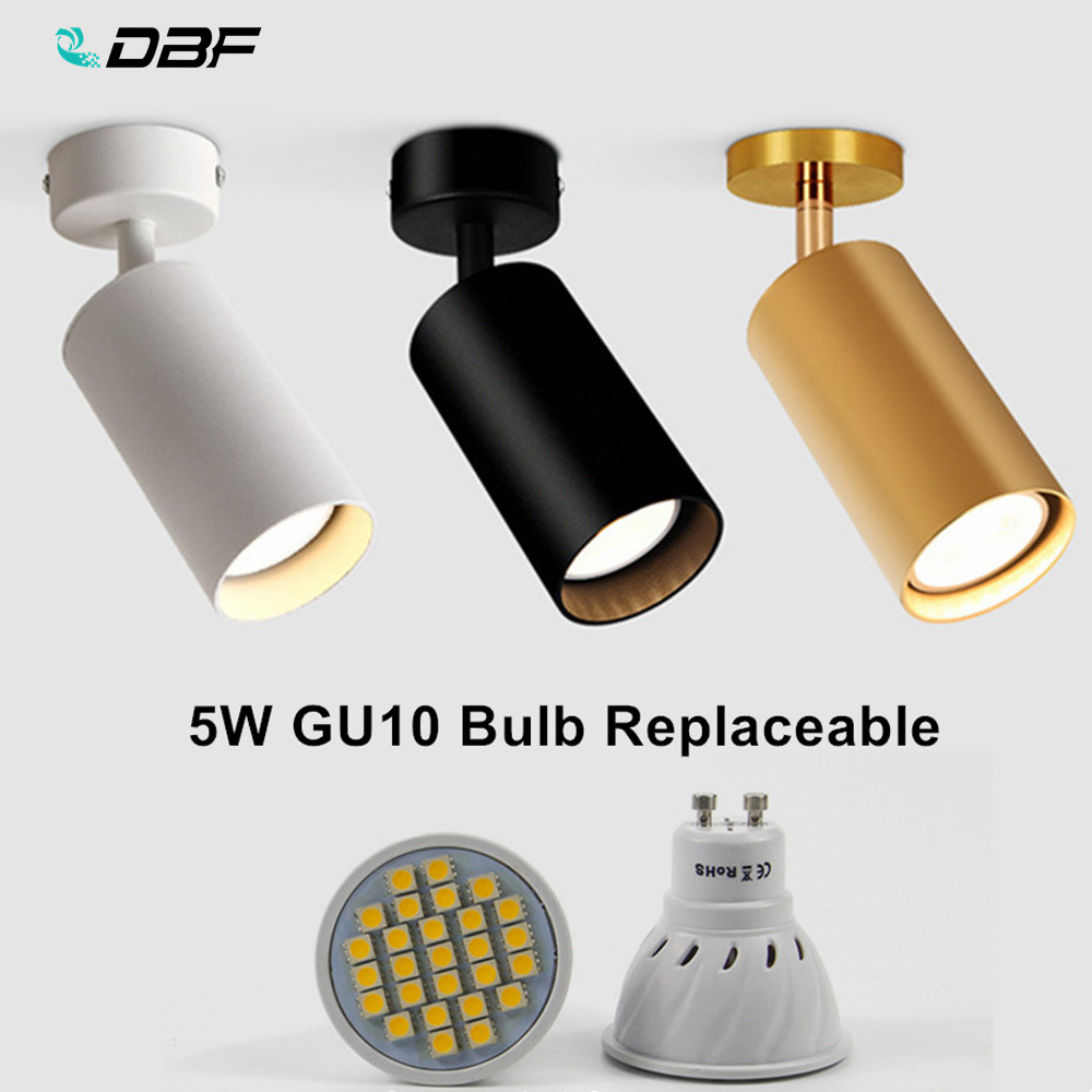 [DBF]360 Degree Rotatable Surface Mounted Ceiling Downlight With 5W GU10 Bulb Replaceable LED Spot Light For Kitchen Living Room