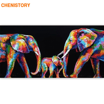 CHENISTORY Large Size 60x120cm Frame DIY Painting By Numbers Elephant Animals Acrylic Paint By Numbers For Living Room Decors
