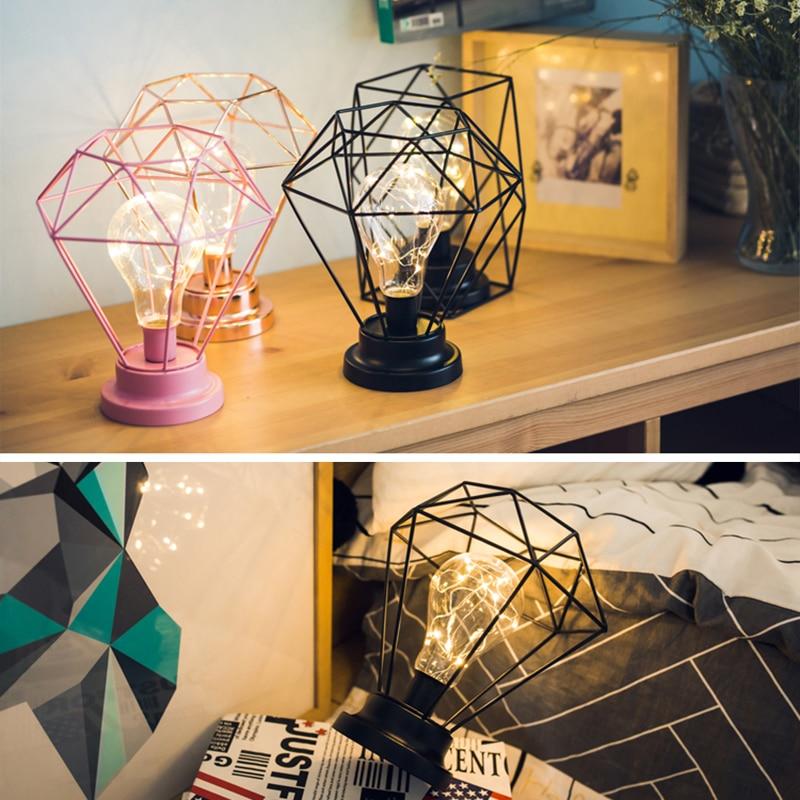Criativo Lâmpada de mesa Moda Diamante Hexagon Forma LED Noite Lâmpada de Cabeceira Lâmpada Quarto Decoração Presente para o Natal Aniversário D20