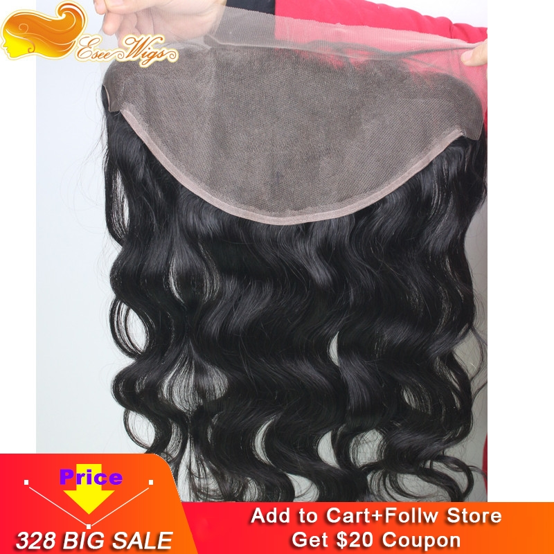 Eseewigs Brazilian 13*6 Lace Frontal Ear To Ear Closure With Baby Hair Body Wave Remy Human Hair For Black Women Bleached Knots