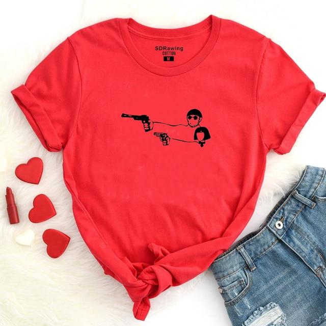 Harajuku Valentine's Day Gift Movie Leon The Professional T Shirt Men Women top tees Cartoon Leon Matilda Funny Couple T-shirt 4