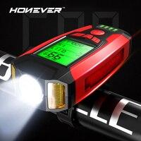 3 in 1 luce per bicicletta ricarica USB bicicletta luce anteriore per bicicletta torcia luce per ciclismo con schermo LCD per misuratore di velocità del clacson