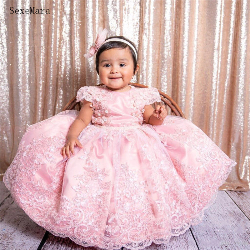 SexeMara Pink   Girls   Clothes For Party vestido daminha Pearls Sash Bow Cap Sleeves   Flower     Girl     Dress   Lace First Birthday   Dress