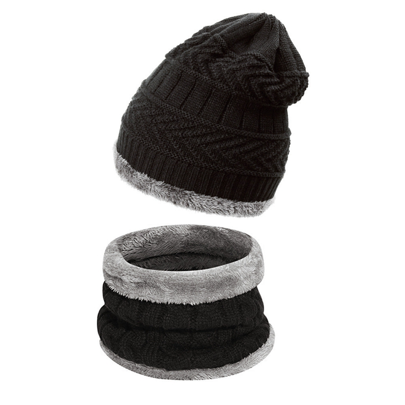 Head Hat and Scarf Set Plush Thick Woolen Hat Knitted Hat Knitted Beanie Warm Scarf Outdoor Unisex Winter Hat