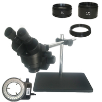 Black Binocular stereo microscope 3.5X 7X 45X 90X Soldering microscope 56 LED lights with Multi axis Adjustable Metal Arm