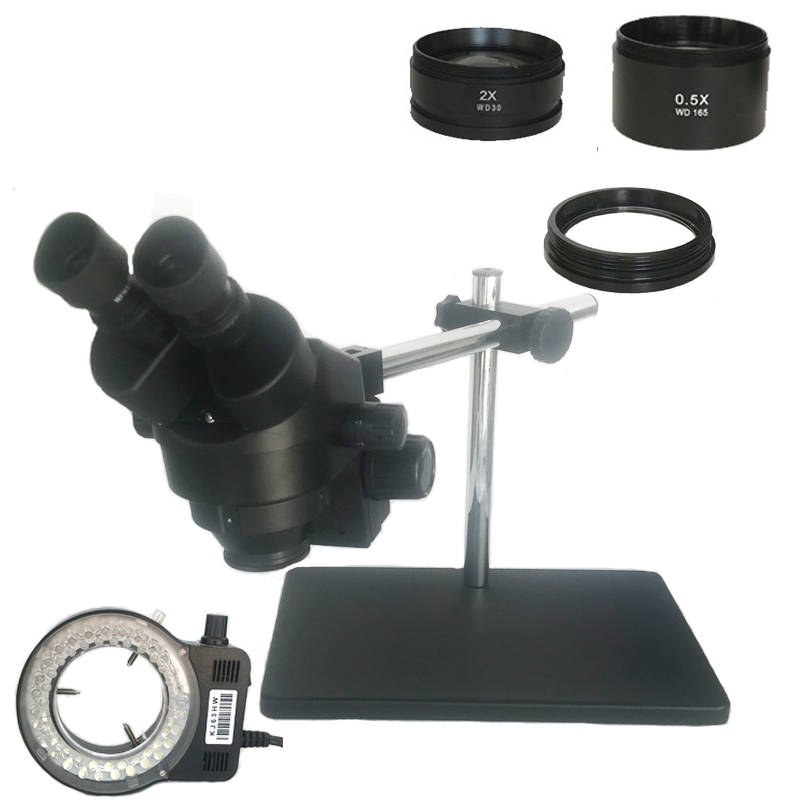 Black Binocular stereo microscope 3.5X 7X 45X 90X Soldering microscope 56 LED lights with Multi-axis Adjustable Metal Arm