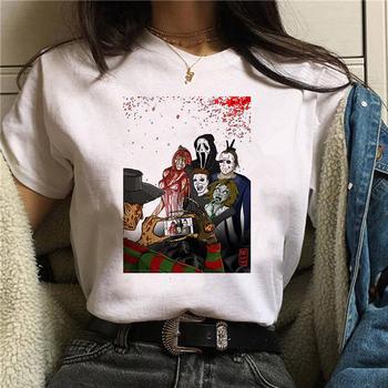 Koszula damska Camiseta Pennywise Michael Myers Jason Voorhees halloweenowa koszulka damska Top Ouija koszulka tanie i dobre opinie Poliester Modalne Topy Tees Krótki REGULAR Suknem Drukuj WOMEN NONE Na co dzień O-neck white