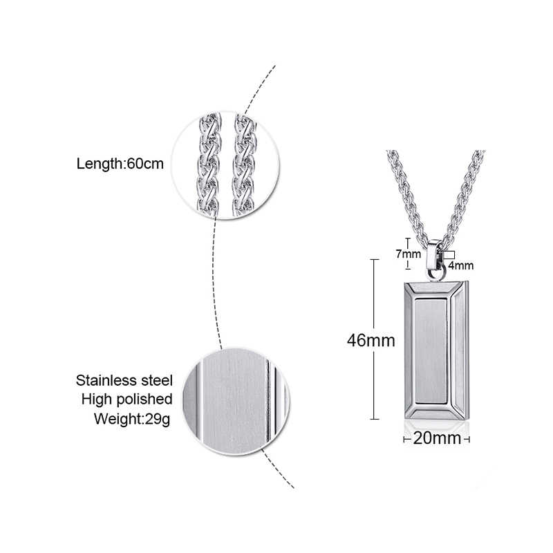 Mężczyźni nowoczesny geometryczny trapezowy wisiorek pasek ze stali nierdzewnej naszyjnik ze stali grawerowany DEBONAIR panowie biżuteria z 24 cali