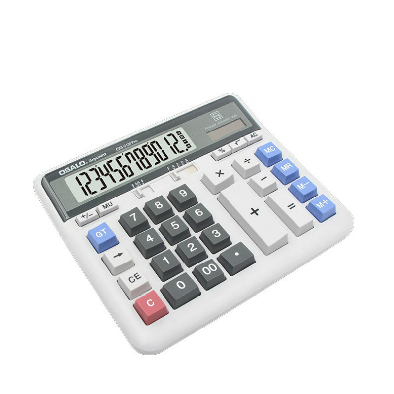 Calculator desktop financial bank environmental abs solar dual 12-bit monitor 2135 for calculator clamshell summons white image