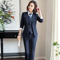 IZICFLY New Style Office Uniform Elegant Business pant suit with vest black 3 piece suit women trouser waistcoat and blazer set