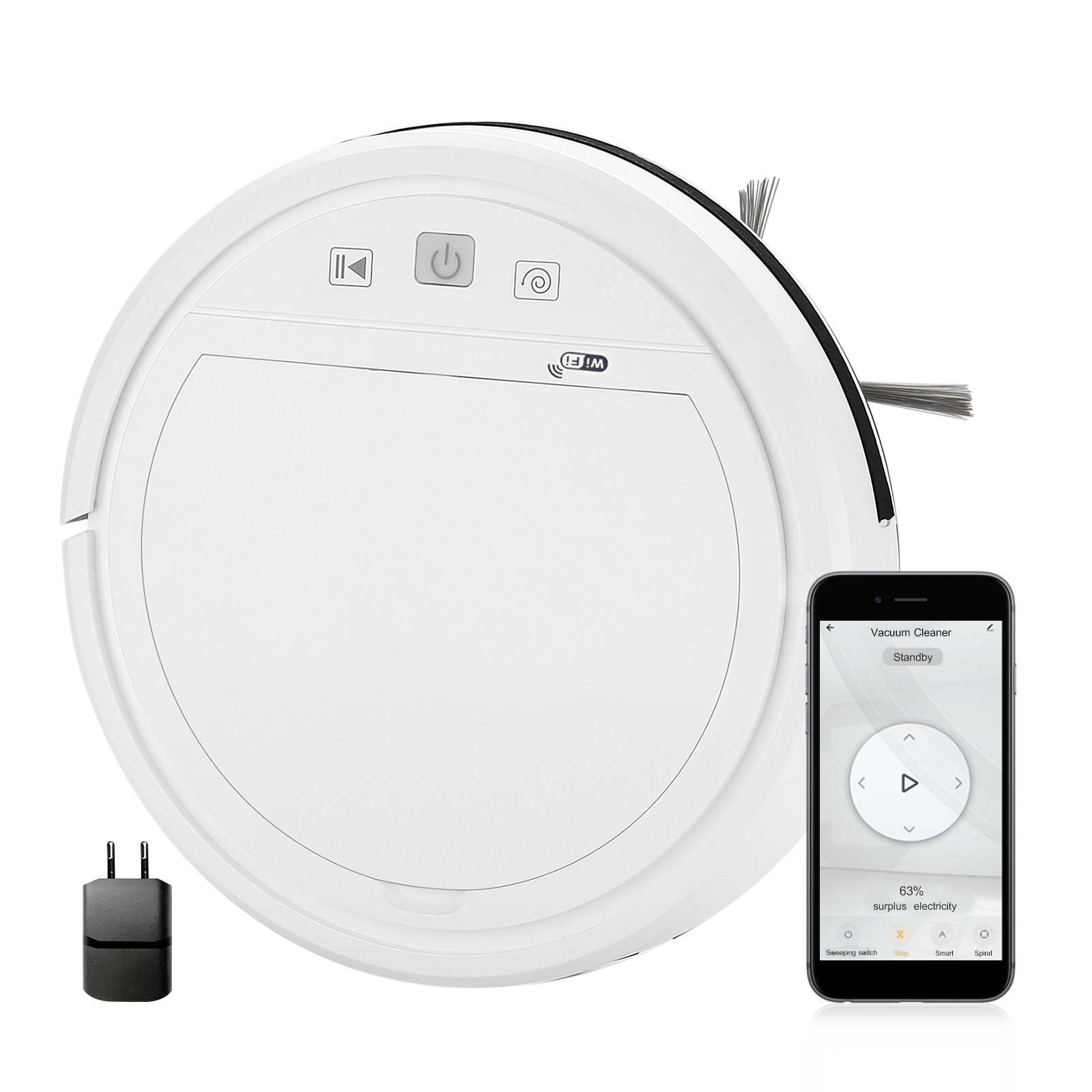 Wi-Fi, 1500Pa робот-пылесос автоматический робот-пылесос 4 режима Совместимость с Alexa Google помощник приложение Tuya