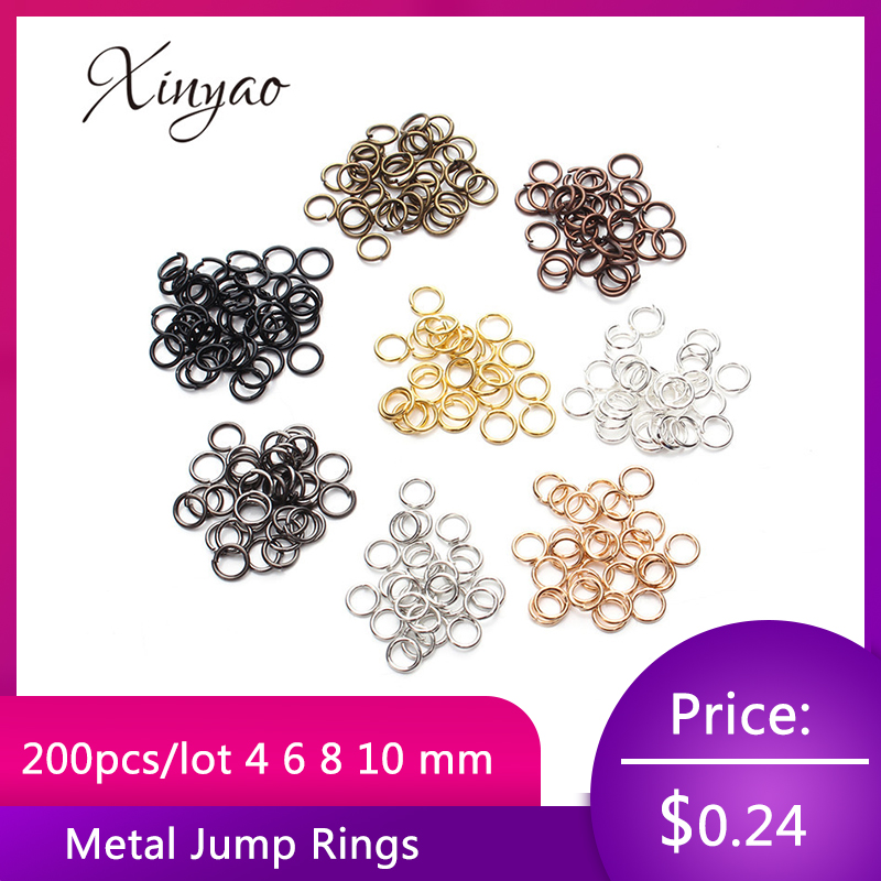 XINYAO 200pcs/lot 4 6 8 10 mm Metal Jump Rings Silver/Gold/Bronze Color Split Rings Connectors For Diy Jewelry Finding Making(China)