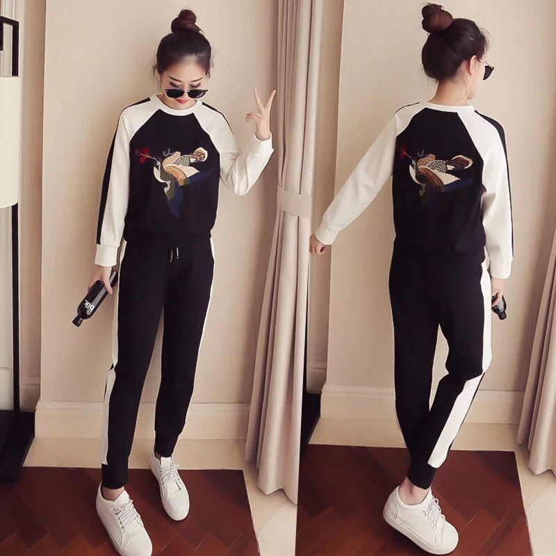 Fat Mm Spring And Autumn Large Size Dress Korean-style Embroidered Hoodie Harem Pants Casual Sports WOMEN'S Suit-Style