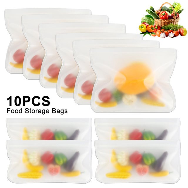 Leakproof Reusable Storage Bags with Zip Lock 10 Pcs Set