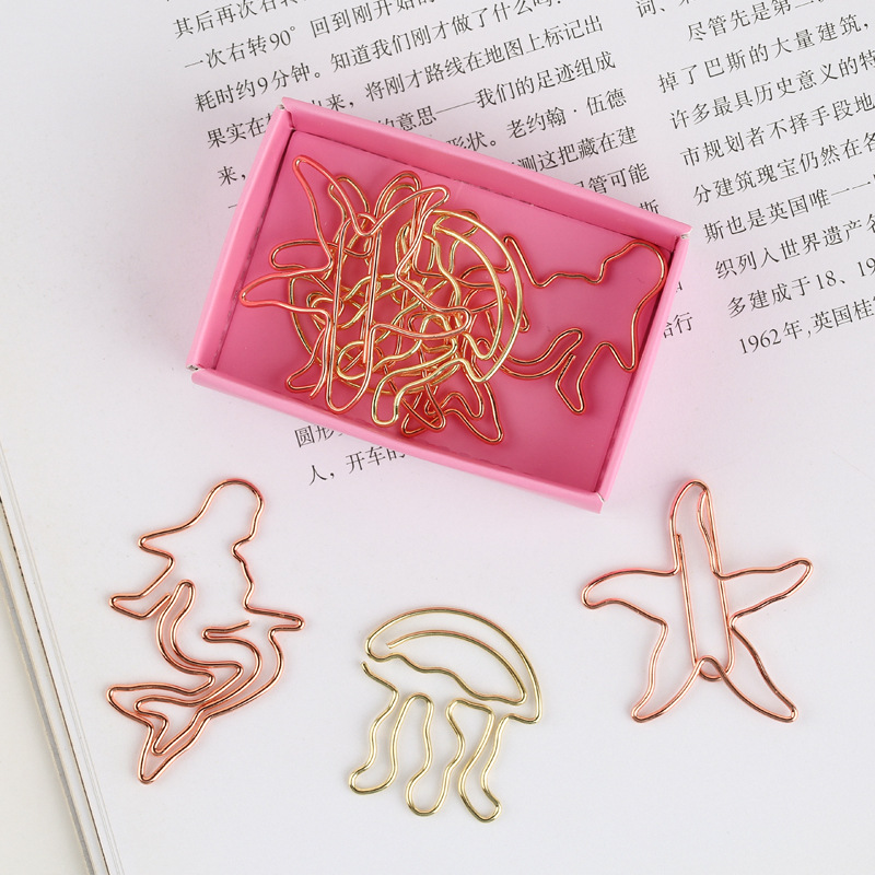 9pcs/box Christmas Santa, Starfish Mermaid Mini Paper Clips Kawaii Stationery Metal Binder Clips Photos Tickets Notes Letter