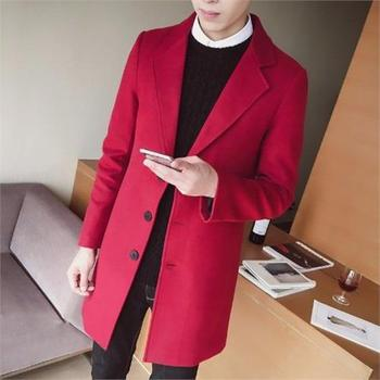 OLOEY Keep warm in winter cotton trench coat men Medium long coat single breasted lapel windbreaker