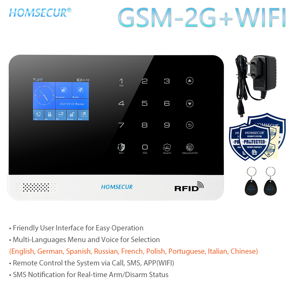 HOMSECUR DIY Wireless Home Security WIFI GSM Alarm System APP Remote Control RFID Card Arm Disarm(Alarm Panel LA02 PIR Etc.)