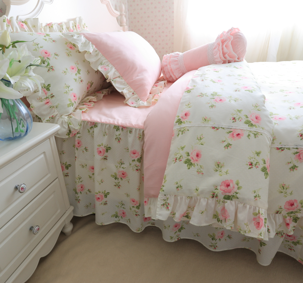 Korean bedding set Cotton pastoral ruffled quilt pillowcase splice princess bed spread pink flower fresh bed sets HM-20F image