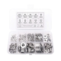 260-Pcs (7-Size) Steel Flat Washer and Lock Washer Assortment Set - Size Included: M2.5 M3 M4 M5 M6 M8 M10