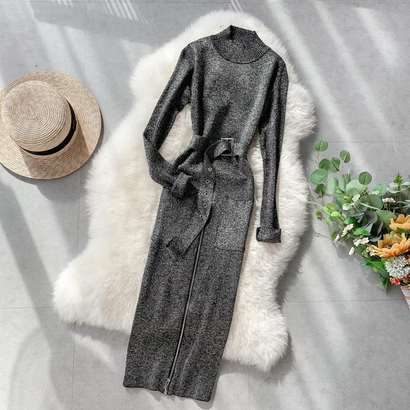 ALPHALMODA 2019 Autumn Ladies Vintage Knitting Dress Stand Collar Long-sleeved Zipper Slit Sashes Buckle Ladies Sparkling Dress