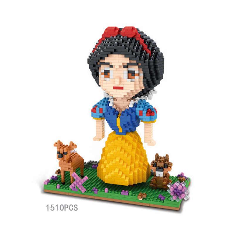 Fairy Tales เจ้าหญิง micro diamond building block mermaid Snow White Cinderella Ariel anna queen elsa Belle nano อิฐของเล่น
