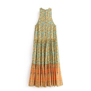 Image 2 - Vintage chic women  floral print sleeveless  beach Bohemian Spaghetti Strap maxi dress Ladies Summer Boho dress vestidos