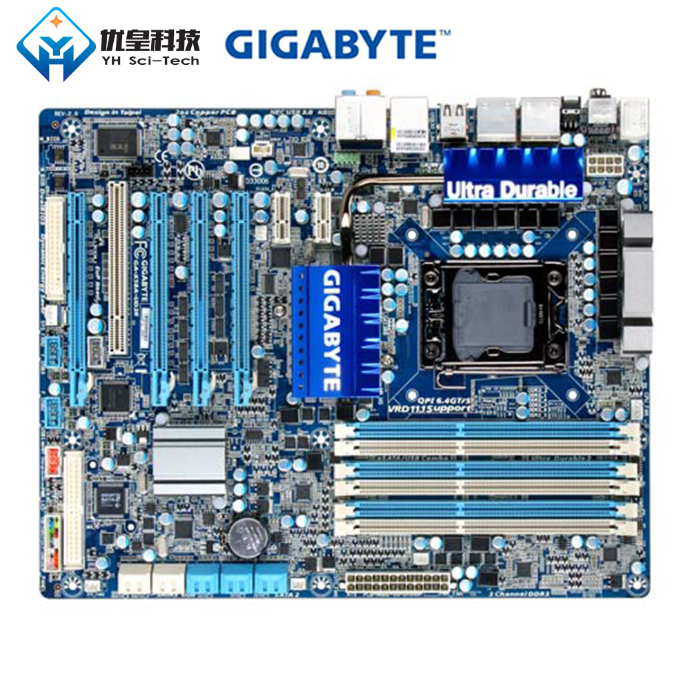 Original Used Desktop Motherboard Gigabyte GA-X58A-UD3R X58 LGA 1366 Core I7 DDR3 24G ATX