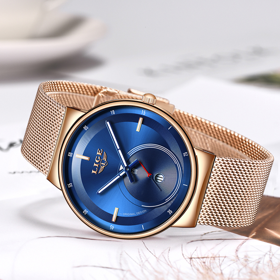 H093db2c01dec4b2cbf38a03a95a476d4v - Watch Women And Men Watch LIGE Top Brand Luxury Ladies Mesh Belt Ultra-thin Watch Waterproof Quartz Wrist watch Reloj Mujer