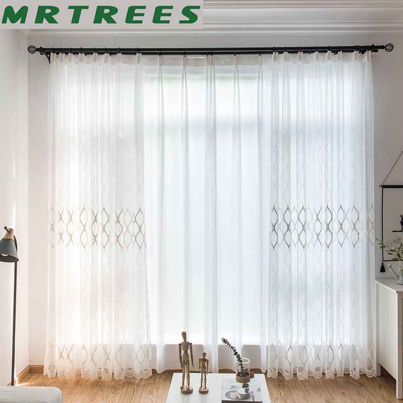 Moderne Weiß Stickerei Sheer Vorhänge Europäischen Stil Voile Tüll Sheer für Die wohnzimmer Schlafzimmer Fenster Vorhang Vorhänge