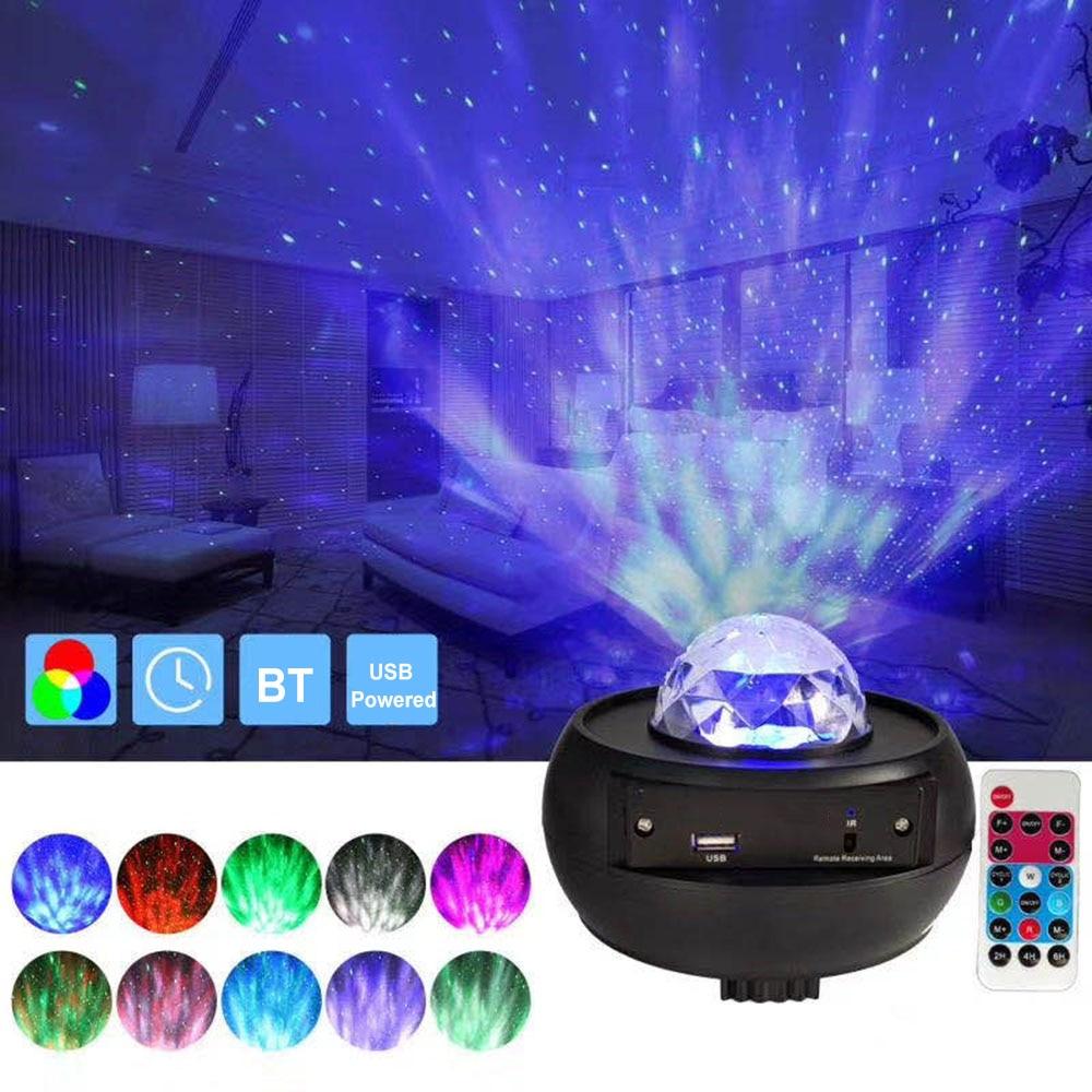 Цветной проектор звездного неба, BT, музыкальный проигрыватель с дистанционным управлением через USB, светодиодный ночсветильник, проекционн...