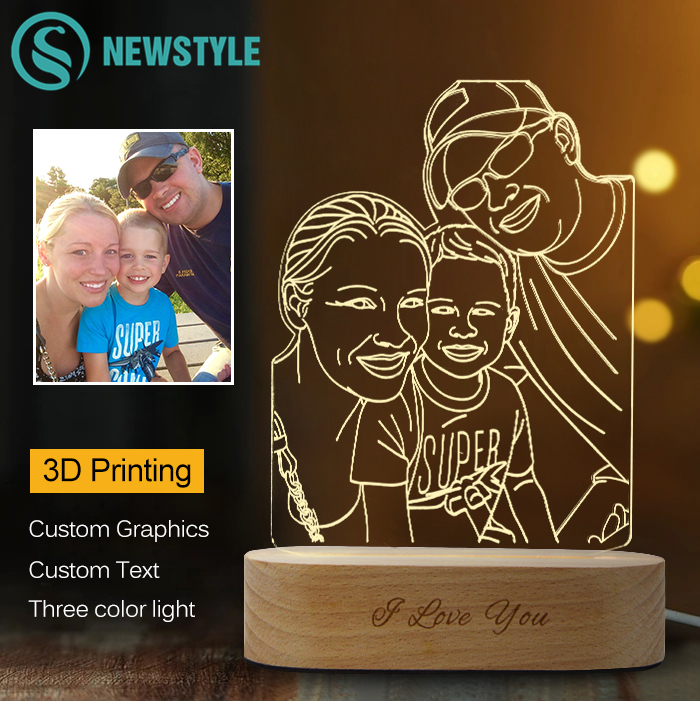 Customized 3D LED Lamp DIY Night Light USB Cable Wooden Base Wedding Anniversary Christmas Birthday Gift For Lover Family Friend