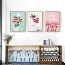 Decoracao Para Casa Obrazy Posters Decorativos Pink Nordic Poster Flower Canvas Painting Cuadros Decorativos 3 Piezas Unframed цена в Москве и Питере