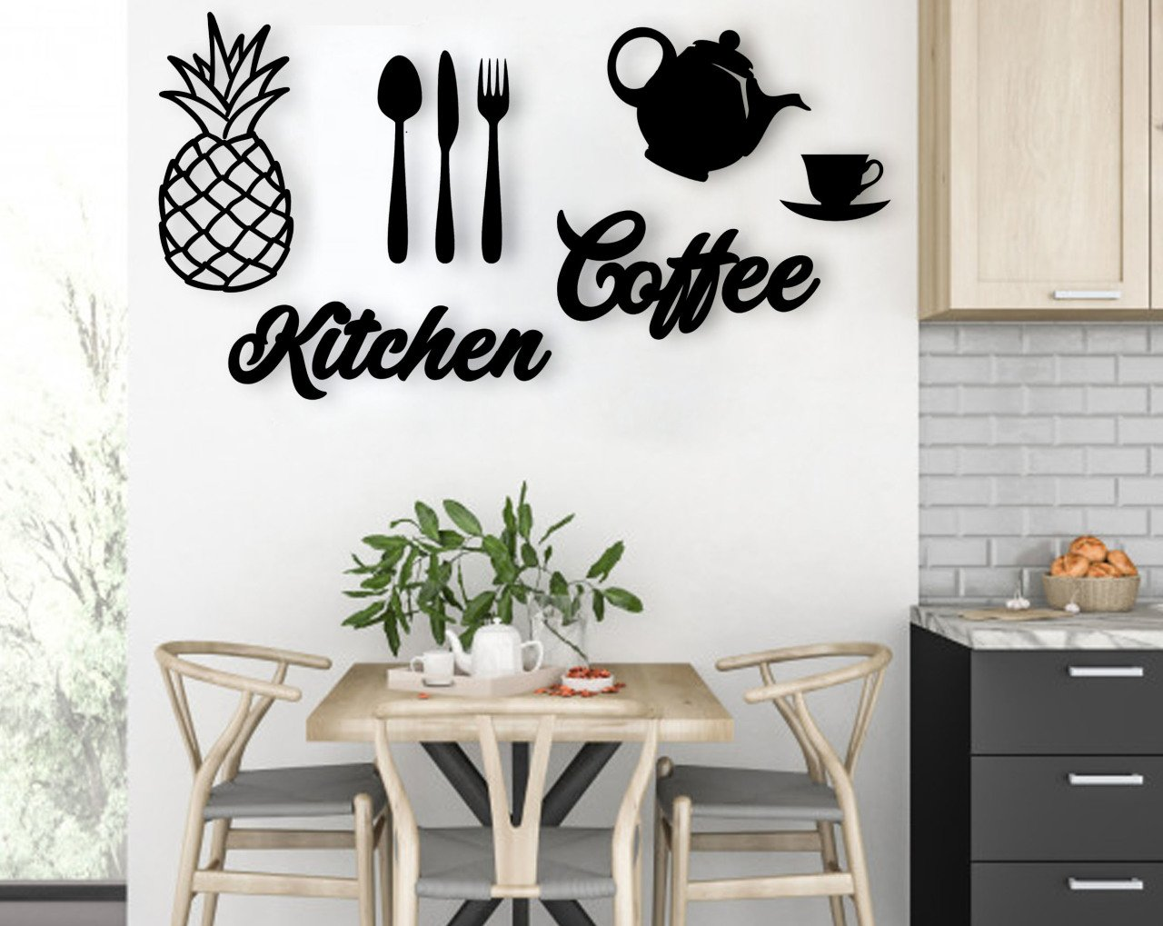 BK Home Kitchen Coffee Wood Wall Post Modern Convenient Reliable Decoration Gift Quality Design Simple Cool Black Color