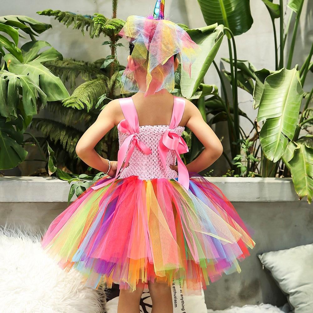 Image 5 - Rainbow Princess Children Unicorn Dress Girl Unicorn Christmas Tutu Dress Flower Girl Party Dress with Unicorn Headband Wing Set-in Dresses from Mother & Kids