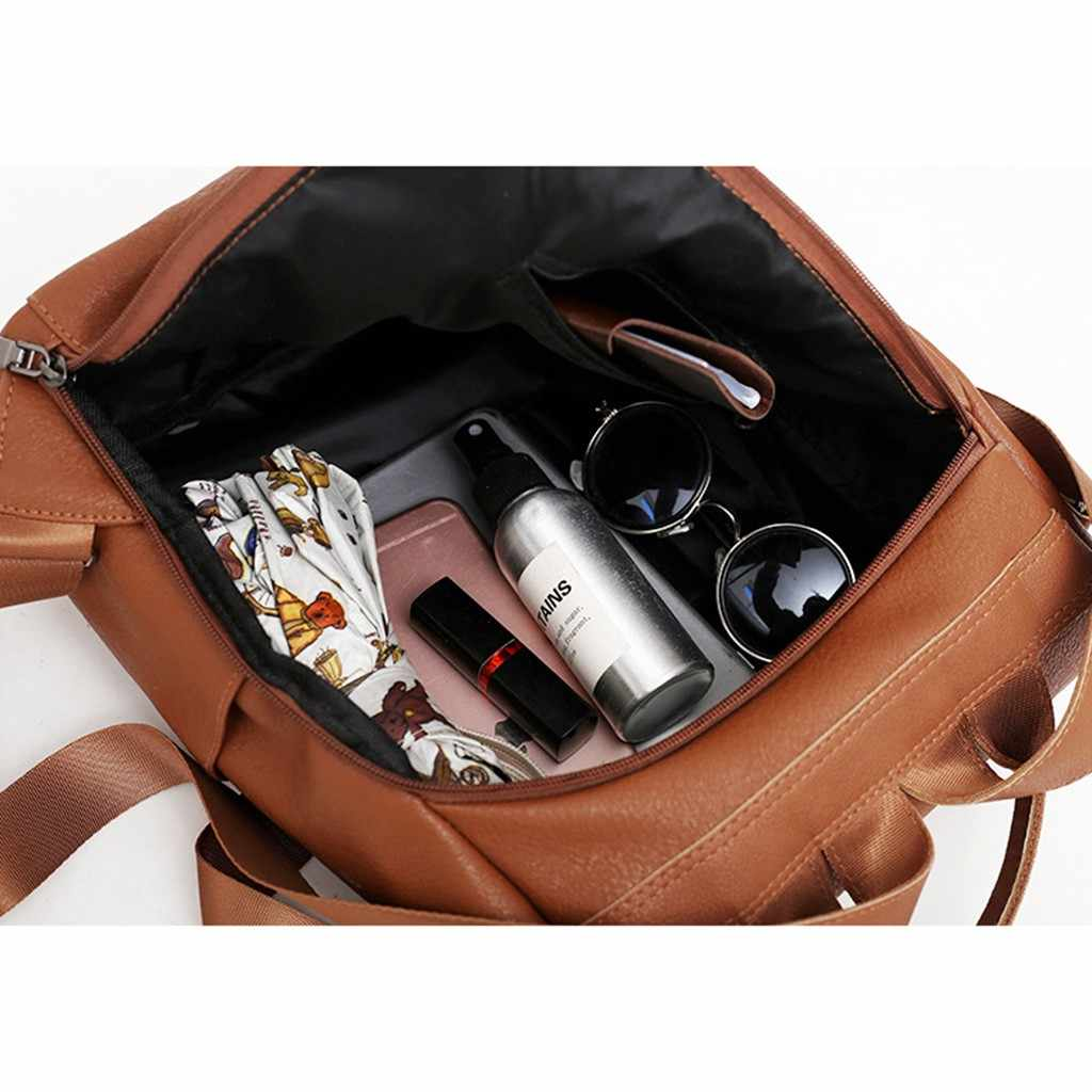 Femme anti-vol sac à dos classique en cuir PU couleur unie sac à dos Canta mode sac à bandoulière étudiant double usage petit sac à dos