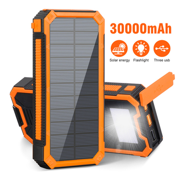 30000mAh Solar Power Bank Portable Charger PD18W USB Type C Poverbank with Waterproof SOS LED Light Powerbank for iPhone Xiaomi