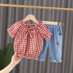 Летняя одежда для новорожденных девочек, комплекты одежды, свободная рубашка, джинсовые шорты, костюм на 1 год, одежда для маленьких девочек,...