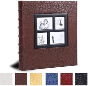 Image 1 - Álbum de fotos para 400 bolsillos, 4x6 fotos, cubierta de cuero, Extra grande, capacidad para boda familiar, aniversario, vacaciones de bebé